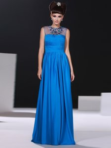 Comfortable Blue Column/Sheath Scoop Sleeveless Silk Like Satin Floor Length Zipper Beading and Ruching Evening Dress