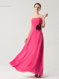 Luxurious Hot Pink Zipper Strapless Hand Made Flower Dress for Prom Chiffon Sleeveless