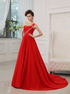 Stylish Silk Like Satin One Shoulder Sleeveless Court Train Zipper Beading and Ruching Prom Gown in Red