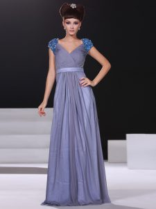 Delicate Lavender Short Sleeves Floor Length Beading and Ruching Zipper Prom Gown