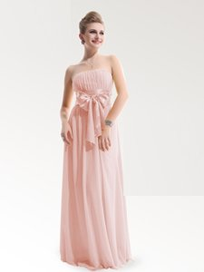 Floor Length Baby Pink Prom Gown Strapless Sleeveless Zipper