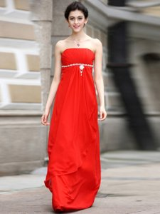 Coral Red Zipper Strapless Beading and Ruching Prom Dress Chiffon Sleeveless