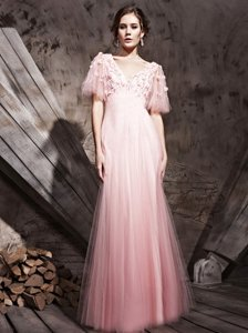 Deluxe Baby Pink Chiffon Zipper Prom Evening Gown Half Sleeves Floor Length Lace and Appliques