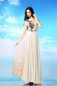 Fashion Scoop Chiffon Sleeveless Ankle Length Prom Dress and Appliques and Ruching and Pattern