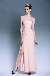 Baby Pink Chiffon Side Zipper Evening Dress Sleeveless Ankle Length Appliques