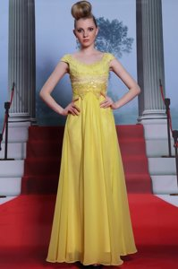 Scalloped Beading and Appliques and Pleated Prom Dress Yellow Side Zipper Short Sleeves Floor Length