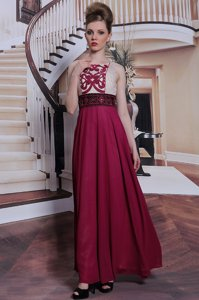 Noble Beading and Appliques Homecoming Dress Burgundy Side Zipper Sleeveless Floor Length