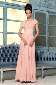 Bateau Cap Sleeves Side Zipper Prom Dresses Pink Chiffon