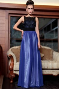 Column/Sheath Homecoming Dress Blue And Black Square Chiffon Sleeveless Floor Length Side Zipper