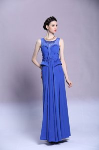 Scoop Chiffon Sleeveless Floor Length Homecoming Dress and Beading and Appliques