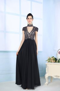 Decent Floor Length Zipper Prom Party Dress Black and In for Prom and Party with Beading and Lace