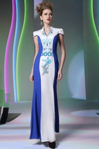 Charming Blue And White V-neck Neckline Embroidery Prom Evening Gown Cap Sleeves Zipper