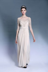 Champagne Column/Sheath Chiffon Bateau Short Sleeves Beading and Pleated Floor Length Zipper Homecoming Dress