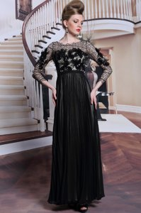 Asymmetric 3|4 Length Sleeve Evening Dress Asymmetrical Appliques and Sequins Black Chiffon