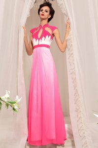 Simple Hot Pink Sleeveless Chiffon Zipper Prom Gown for Prom and Party