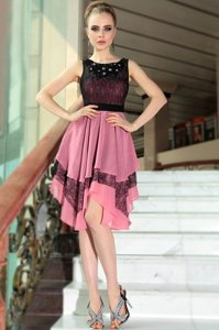 Beautiful Scoop Sleeveless Asymmetrical Beading and Lace Pink And Black Chiffon