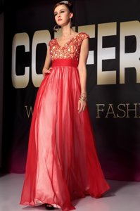 Sumptuous Short Sleeves Organza Floor Length Side Zipper in Red for with Appliques and Belt