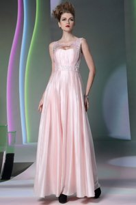 Low Price Scoop Baby Pink Sleeveless Floor Length Beading Zipper Prom Dresses