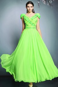 Floor Length Empire Short Sleeves Dress for Prom Backless