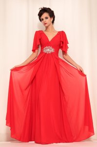 Floor Length Zipper Prom Gown Red and In for Prom and Party with Beading