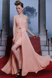 Chiffon V-neck Sleeveless Clasp Handle Beading and Appliques Prom Dress in Pink