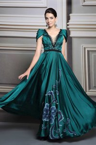 Fitting Short Sleeves Floor Length Beading and Embroidery and Belt Zipper Homecoming Dress with Dark Green