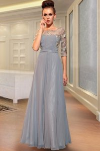 Simple Square Half Sleeves Chiffon Homecoming Dress Beading and Embroidery Side Zipper