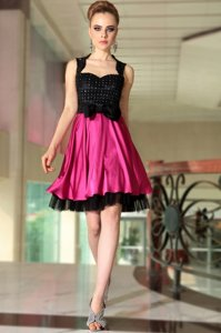 Glamorous Beading Prom Gown Pink And Black Side Zipper Sleeveless Knee Length