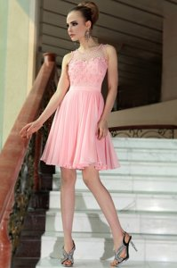 Luxury Baby Pink Side Zipper Scoop Pleated Prom Gown Chiffon Sleeveless
