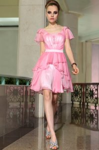 Cap Sleeves Chiffon Mini Length Side Zipper Prom Dresses in Rose Pink for with Belt