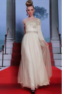 One Shoulder Tulle 3|4 Length Sleeve Floor Length Prom Dress and Beading and Appliques