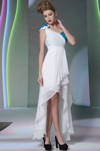 Fashion White Chiffon Side Zipper Homecoming Dress Sleeveless High Low Ruffled Layers and Sequins and Hand Made Flower