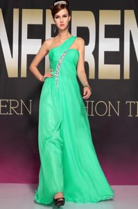 Pretty Chiffon One Shoulder Sleeveless Backless Beading and Ruching in Turquoise