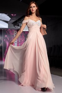 Spaghetti Straps Short Sleeves Homecoming Dress Floor Length Beading and Ruching Pink Chiffon