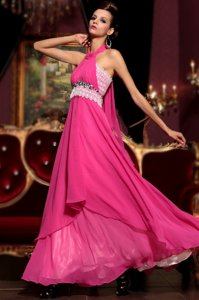 Halter Top Sleeveless Chiffon Floor Length Zipper Prom Party Dress in Hot Pink for with Beading and Lace