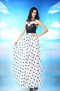 White And Black Side Zipper Halter Top Beading and Sequins and Ruching Evening Dress Chiffon Sleeveless