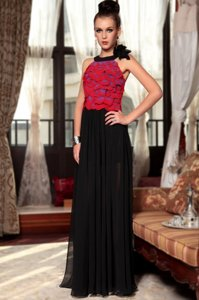 Decent Scoop Floor Length Column/Sheath Sleeveless Red And Black Side Zipper