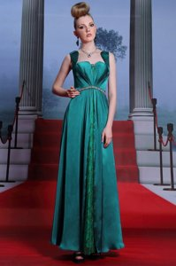 Lovely Peacock Green Column/Sheath Sweetheart Sleeveless Elastic Woven Satin Ankle Length Zipper Beading and Lace Prom Party Dress
