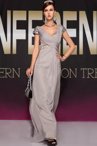 Suitable Grey Homecoming Dress Chiffon Sweep Train Short Sleeves Beading and Ruching