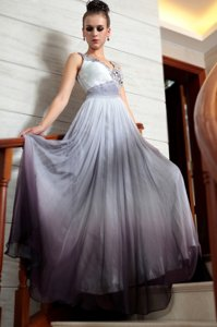 Extravagant Multi-color Sleeveless Beading and Appliques and Ruching Floor Length Prom Gown
