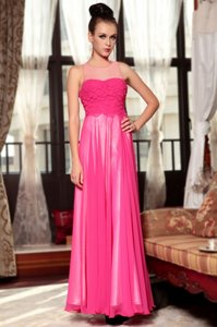 Custom Fit Hot Pink Column/Sheath Chiffon Scoop Sleeveless Ruching Ankle Length Zipper Evening Dress