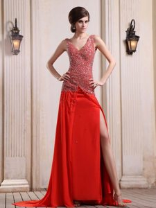 2014 New V-neck Beaded Slitted Red Prom Homecoming Dress