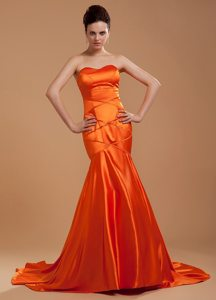 Mermaid Sweetheart Brush Train Orange Red Prom Dress