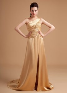 One Shoulder Beaded Slitted Champagne Prom Dress for Girls
