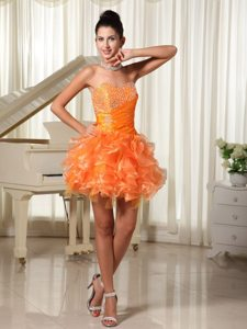 Beading and Ruffles Accent Mini Prom Maxi Dresses in Orange Red