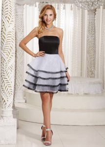 White and Black Mini Length Organza Prom Maxi Dress with Frills