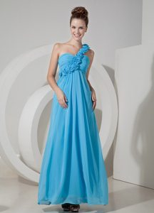 Flowery One Shoulder Ruches Prom Bridesmaid Dress of Ankle Length