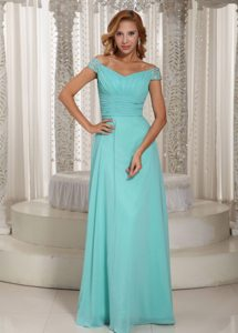 Aqua Blue Off Shoulder Prom Bridesmaid Dress with Beading Ruches