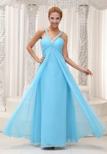 Beaded V-neck Ruched Chiffon Prom Bridesmaid Dress in Aqua Blue