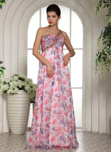 Beaded One Shoulder Floor Length Prom Bridesmaid Dress of Print